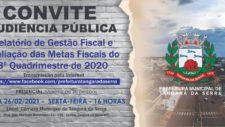 Município realiza audiência pública na sexta-feira para apresentação do relatório de gestão fiscal