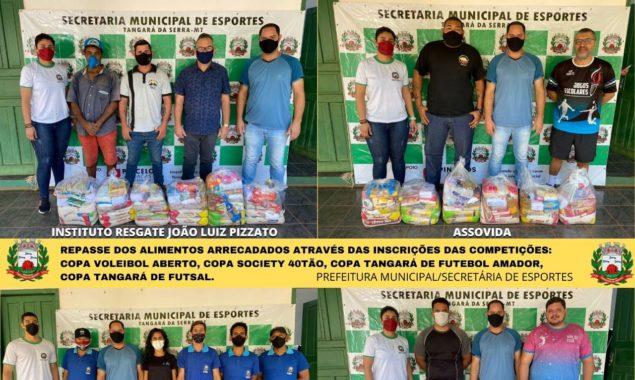 Alimentos arrecadados em eventos da Secretaria de Esportes são repassados à entidades