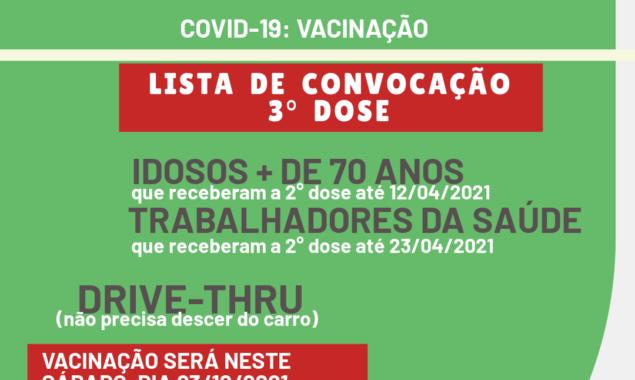Saúde convoca idosos acima de 70 anos e trabalhadores de saúde para 3° dose da vacina COVID-19